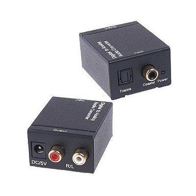 Conversor de Áudio Digital (Óptico/Coaxial) para Analógico (2XRCA) - Importado