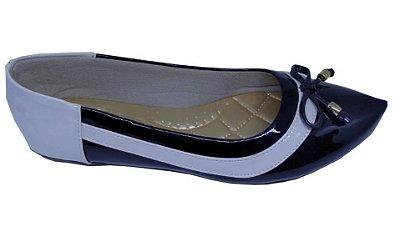 sapatilha no atacado preto bege verniz com enfeite em abs