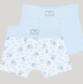 Kit 2 Cuecas Boxer Infantil Bebê Baleia Club DelRio 13 a 24 meses