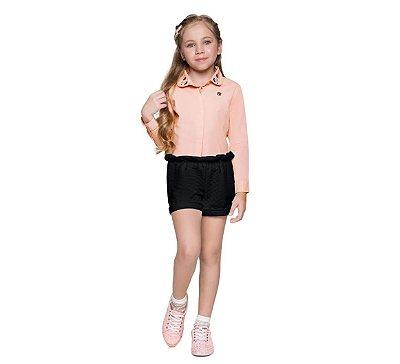 Conjunto Menina Camisa e Shorts Metelassê Mundi