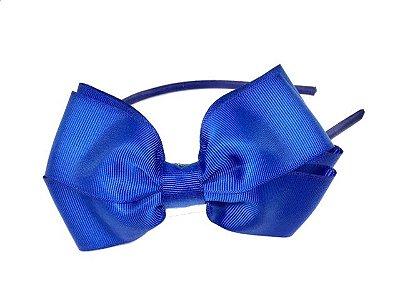 Tiara de laço gorgurão GG - Azul Marinho