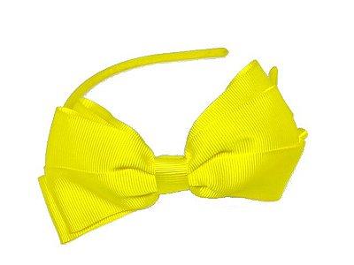 Tiara de laço gorgurão GG - Amarelo