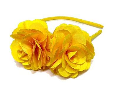Tiara Maitê em tafetá - Amarela