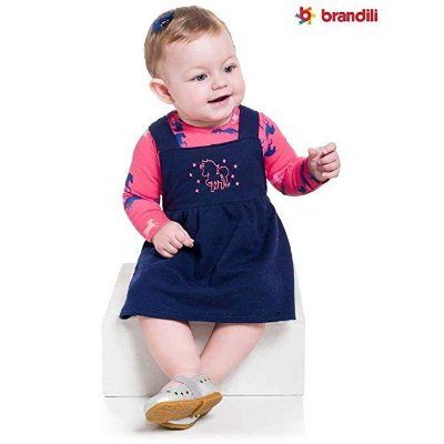 Conjunto Body Cotton e Salopete Moletinho Brandili