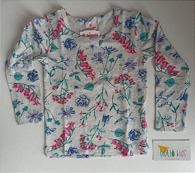 Blusa Cotton Cinza Floral Brandili Menina
