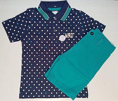 Conjunto Camiseta Polo e Bermuda de Sarja Mundi