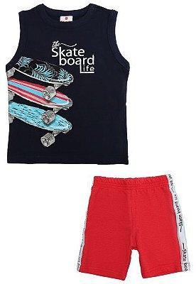 Conjunto Regata e Bermuda Skate Board Brandili