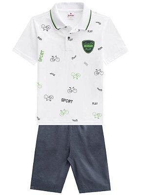 Conjunto Camiseta Polo E Bermuda de Sarja Brandili