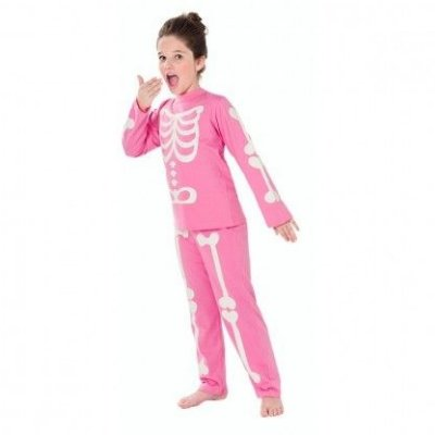 Pijama Esqueleto Brilha Escuro (Rosa)