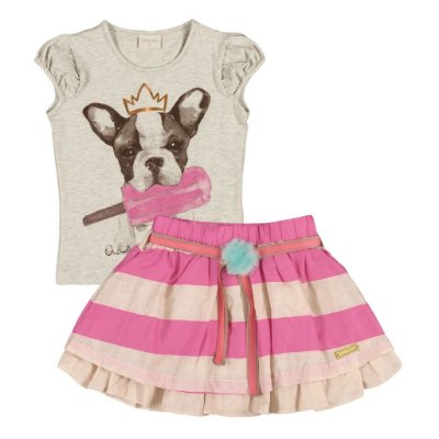 Conjuntinho Camisetinha + Saia | Up Baby - Bulldog Icecream Pink