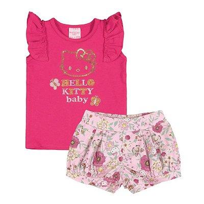 Conjuntinho Batinha + Shorts | Hello Kitty