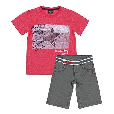 Conjuntinho Camisetinha + Bermuda Jeans | Quimby - Surf Red
