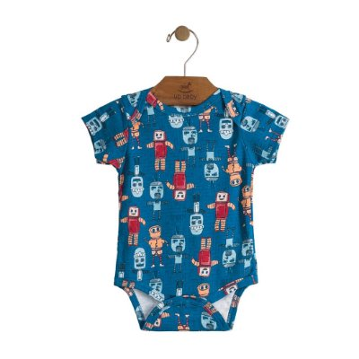 Body Manga Curta | Up Baby - Robot blue