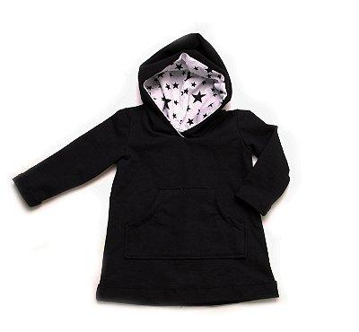 Vestido trapézio com capuz - Black Stars