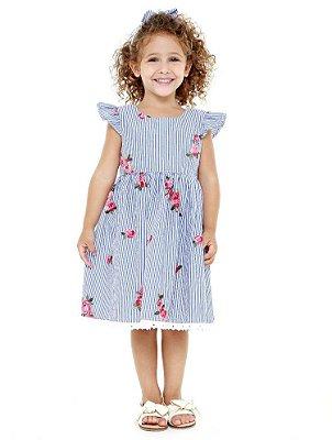 Vestido retrô - floral bordado