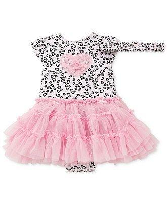 Body Vestido Tutu   Little Me Baby - Leopard com Faixinha