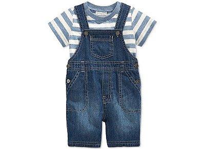 Conjunto jardineira jeans + camisetinha listrada - First impressions