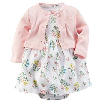 Body Vestido | Carters - Floral com Casaquinho em malha