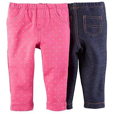 Pack 2 leggings: Jeans e Rosa Poá - Carter´s