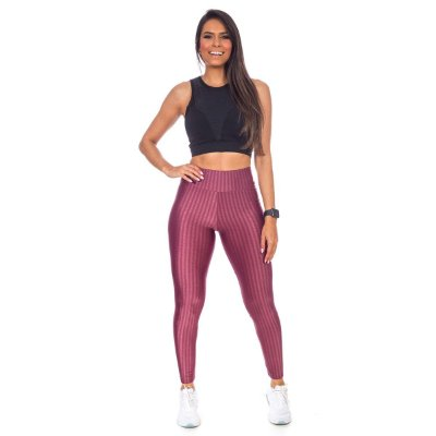 Legging Fitness 3d Bordô Poliamida