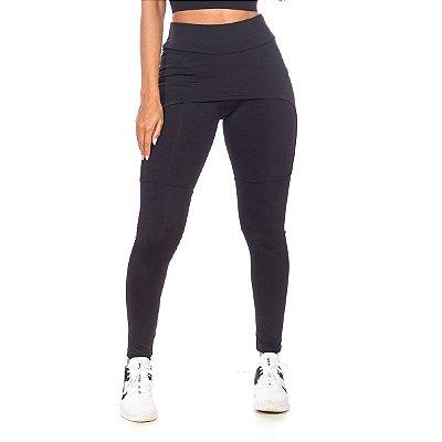 Legging com Saia Fitness Preto Poliéster