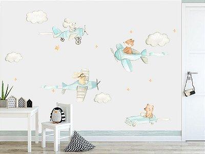 Adesivo Quarto Infantil Animais Voadores Aquarela