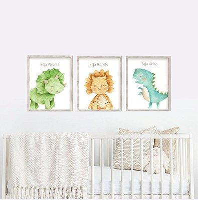 Decoração Quadro Bebê Menino Dinossauros