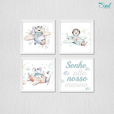 Kit Quadro Infantil Aquarela Bebê Ursinho Voador