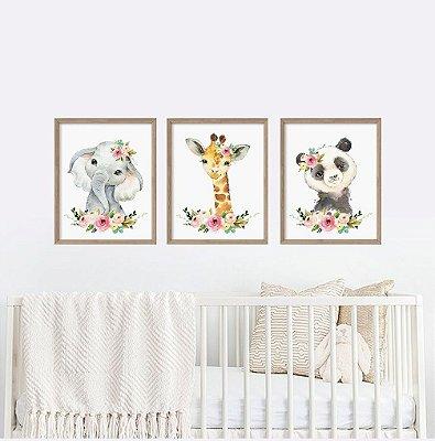 Decoração Menina Aquarela Animais Elefante Girafa e Panda