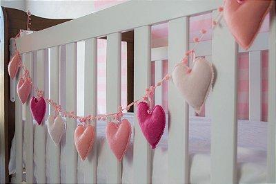 Varal de Coração Rosa em tons gradiente