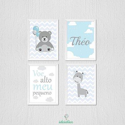 Quadro Infantil Ursinho, Girafinha e Voe Alto Meu Pequeno