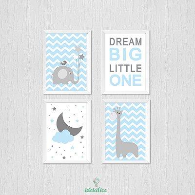 Quadro Infantil Girafa Dream Lua e Elefantinho
