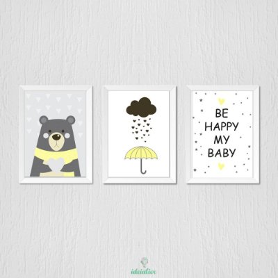 Quadro Infantil Urso Guarda Chuva e Be Happy