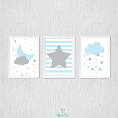 Quadro Infantil Lua Estrela e Nuvem