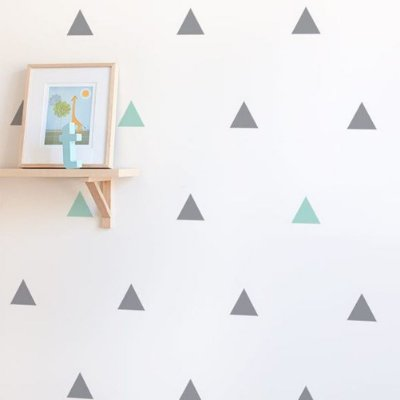 Adesivo de Parede Triângulo Cinza e Verde