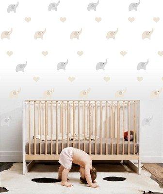 Adesivo Parede Infantil Elefante e Coração