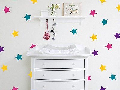 Adesivo de Parede Infantil Estrelas Coloridas