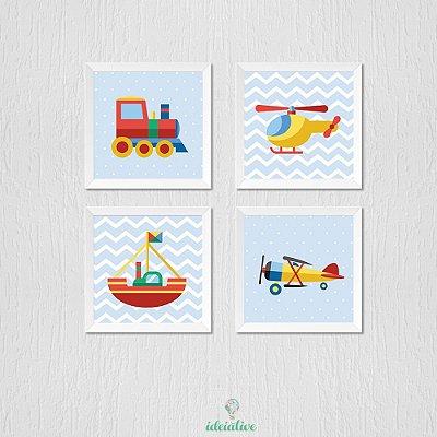 Quadro Infantil Avião Trem e Barco