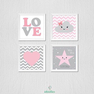 Quadro Infantil Love Nuvem Coração e Estrela
