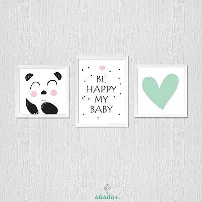 Quadro Infantil Panda Be Happy Coração