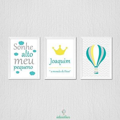 Quadro Infantil Sonhe Alto Balão e Nome Personalizado
