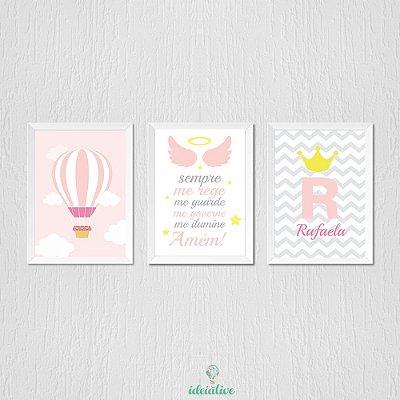 Quadro Infantil Menina Princesa, Balão e Oração do Santo Anjo