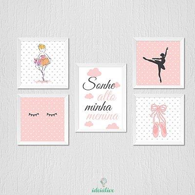 Quadro Infantil Menina Bailarina Sonhe Alto e Olhinho