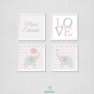 Quadro Infantil Nome Personalizado Love e Elefantinhos