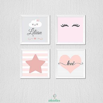 Quadro Infantil Nome Personalizado Olhinho Estrela e Coração