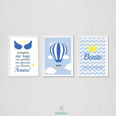 Quadro Infantil Oração Santo Anjo Balão e Nome Personalizado
