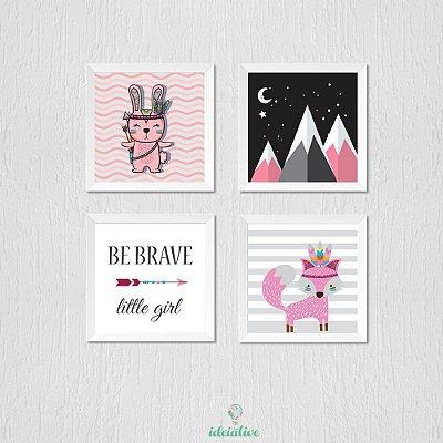 Quadro Infantil Be Brave Little Girl, Rapozinha, Montanhas e Coelhinha