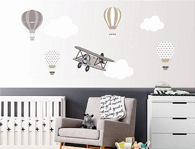 Adesivo de Parede Balões e Avião