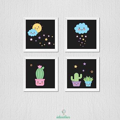 Quadro Infantil Lua Sol Nuvem e Cactos