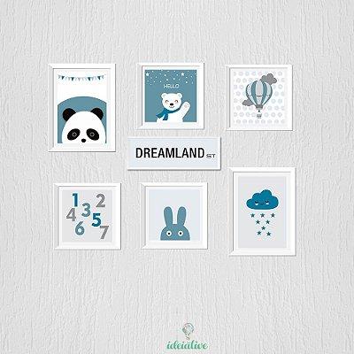 Quadro Infantil Panda e Adesivo Nuvem